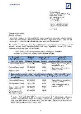 Informace o zpracování plateb na konci roku