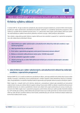 Kritéria výběru oblasti Otázky a odpovědi týkající se