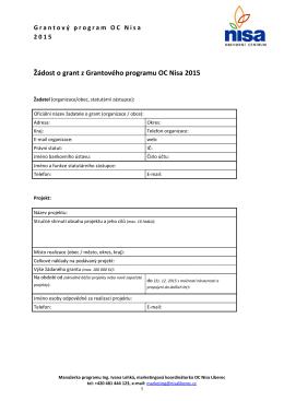 Žádost o grant z Grantového programu OC Nisa 2015