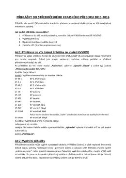 Postup pro podání elektronické přihlášky ve VIS do KP 2015–2016