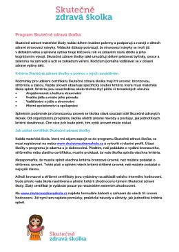 Kompletní soubor kritérií pro Skutečně zdravé školky