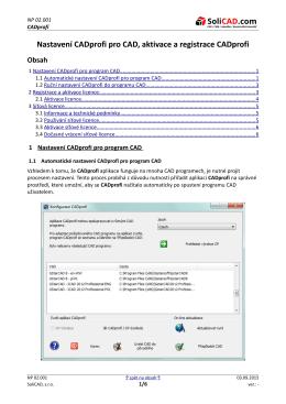 Návod pro registraci a aktivaci CADprofi