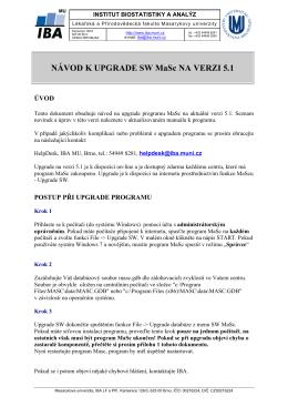 NÁVOD K UPGRADE SW MaSc NA VERZI 5.1