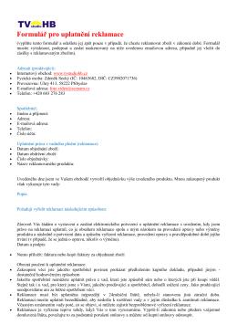 Formulář pro uplatnění reklamace