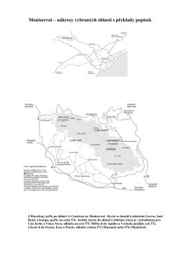 Montserrat – nákresy vybraných oblastí s překlady popisek