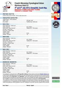 Žádost o volný tým - IWT 2015 for retrievers