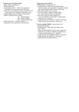 Stručný návod pro instalaci a programování