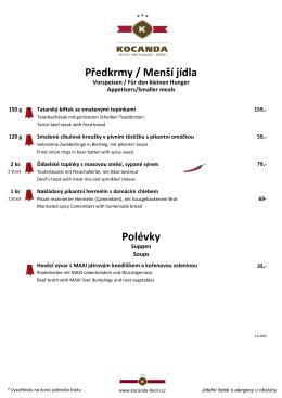 Předkrmy / Menší jídla Polévky