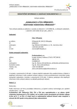 Dodatečné informace k Zadávací dokumentaci č. 2