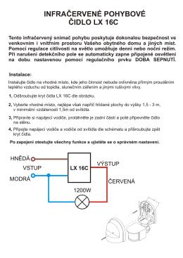 infračervené pohybové čidlo lx 16c