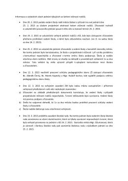 Informace o výsledcích všech jednání týkajících se šetření stížnosti