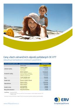 Ceny všech zahraničních zájezdů pořádaných CK vTT obsahují