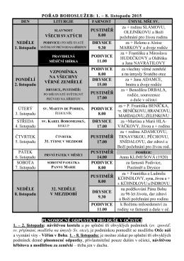 POŘAD BOHOSLUŽEB: 1. – 8. listopadu 2015 VŠECH SVATÝCH