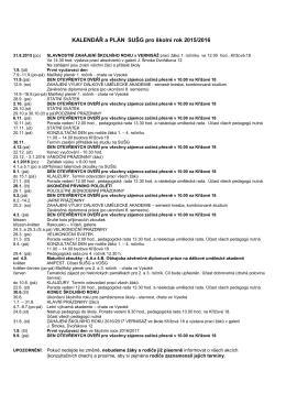Kalendář a plán SUŠG pro rok 2015/2016