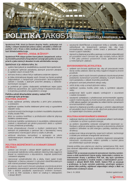 2015 politika jakosti - Pražské vodovody a kanalizace, as