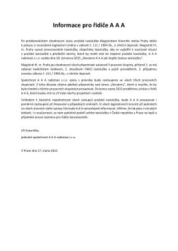 17.8.2015 - Informace pro řidiče A A A