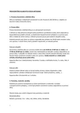 Provozní řád klubových dílen ARTISSIMO (ke stažení formát PDF)