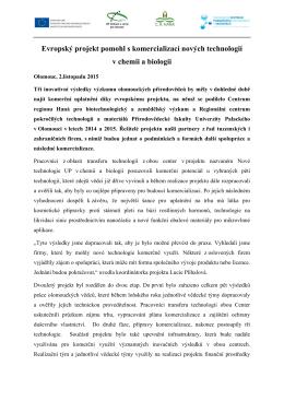 Tisková zpráva k ukončení projektu, 2.11.2015