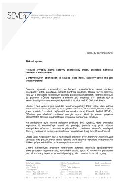 Praha, 30. července 2015 Tisková zpráva: Polovina výrobků nemá