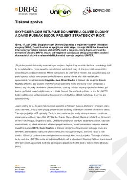 Tisková zpráva SKYPICKER.COM VSTUPUJE DO UNIFERU