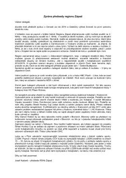 Zpráva předsedy Západ 2015 - hokejbal