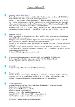 Program schůzky s rodiči - Mateřská škola Víchová nad Jizerou