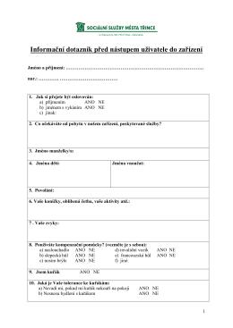 Informační dotazník před nástupem uživatele do zařízení