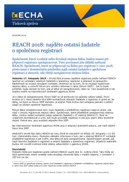 REACH 2018: najděte ostatní žadatele o společnou registraci