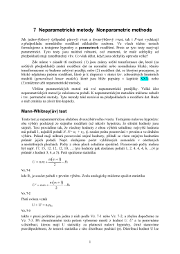 7 Neparametrické metody Nonparametric methods ( ) ( )