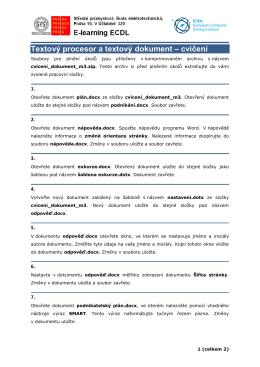 Textový procesor a textový dokument – cvičení