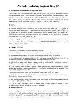 Obchodní podmínky jazykové školy LLS