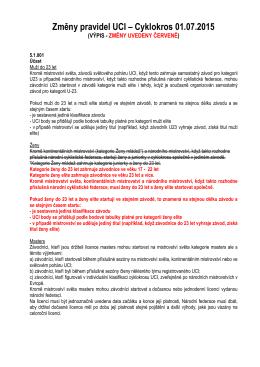 Změny pravidel UCI – Cyklokros 01.07.2015