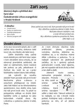 září - Farní sbor Českobratrské církve evangelické v Hradci Králové