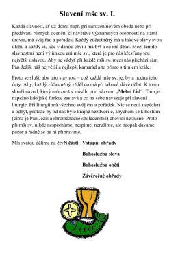 Slavení mše sv. I.