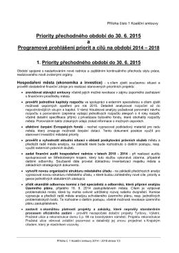 Priority přechodného období do 30. 6. 2015 a Programové