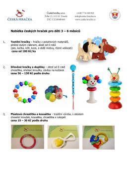 Nabídka českých hraček pro děti 3 – 6 měsíců