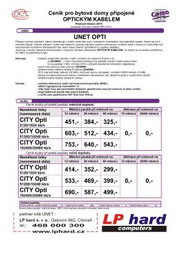 Ceník připojení k Internetu pro bytové domy na optické síti