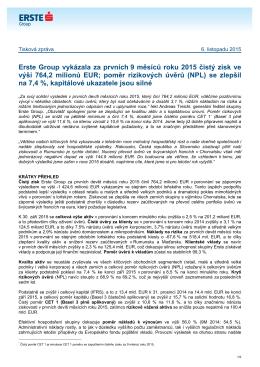 Erste Group vykázala za prvních 9 měsíců roku 2015 čistý zisk ve