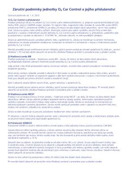 Záruční podmínky jednotky O2 Car Control a jejího příslušenství