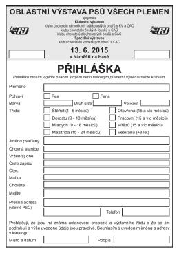 PŘIHLÁŠKA - Klub chovatelů výmarských ohařů