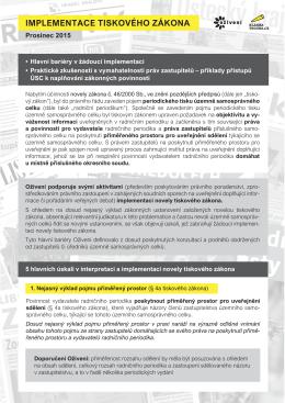 Implementace tiskového zákona. Prosinec 2015.