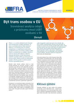 Být trans osobou v EU - European Union Agency for Fundamental