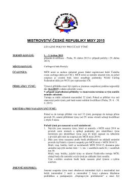 MISTROVSTVÍ ČESKÉ REPUBLIKY MIXY 2015