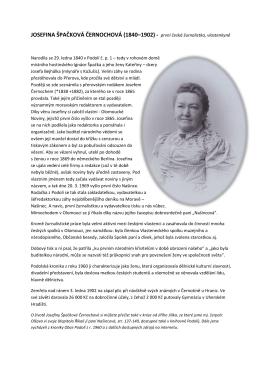 JOSEFINA ŠPAČKOVÁ ČERNOCHOVÁ (1840–1902