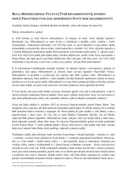 BULA MISERICORDIAE VULTUS (TVÁŘ MILOSRDENSTVÍ), KTEROU