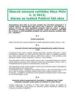 Obecně závazná vyhláška Obce Pičín č. 3/2015, kterou