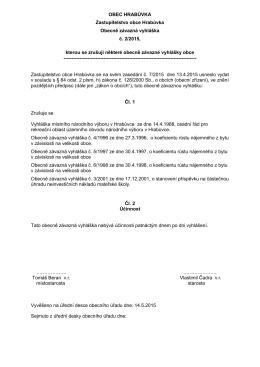 OZV č. 2/2015 kterou se zrušují některé obecně