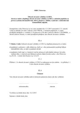 OBEC Petrovice Obecně závazná vyhláška č.2/2015, kterou se mění