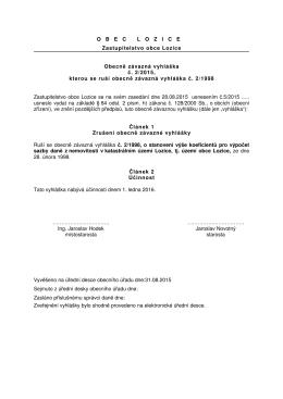 OBECLOZICE Zastupitelstvo obce Lozice Obecně závazná vyhláška