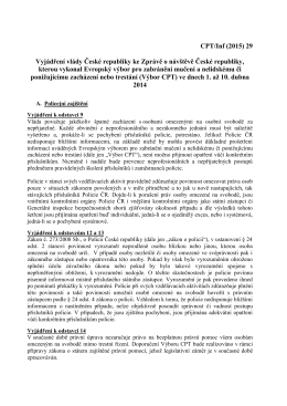 Zpráva pro vládu České republiky o návštěvě České republiky